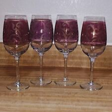 Pink Purple  Wine Glasses Tall Elegant Gold Frosted Design Unbranded Set of 4