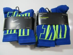 Nike Boys Everyday Cushioned Crew Socks 6 Pack SX6955 Nwt