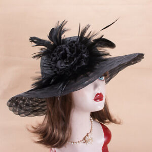 Womens Foldable Wide Brim Floppy Kentucky Derby Church Wedding  Party Hat T357