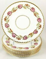HAND PAINTED SET 8 BREAD PLATES ROYAL WORCESTER CHINA MONTPELIER Z2062 PINK GOLD
