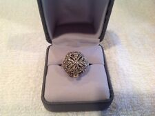 Bucherer Swiss 17 Jewel Stainless Marcasite Amazing Ring Watch Working sz 6