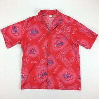 Vintage 70s 80s USA Made Barefoot In Paradise Hawaiian Shirt Mens L Surf Fish