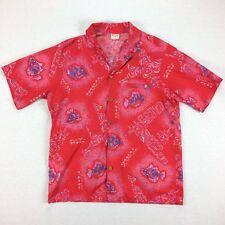 Vintage 70s 80s USA Made Barefoot In Paradise Hawaiian Shirt Mens L Surf Fish