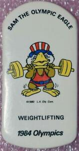 1984 Los Angeles Olympics Sam the Eagle Collector's Pinback Button Weightlifting