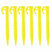 6PC Visible Yellow Plastic Universal Tent Pegs Ground Nail Stakes for Camping