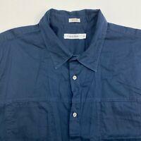 Calvin Klein Button Up Shirt Mens XXL Navy Blue Short Sleeve Casual