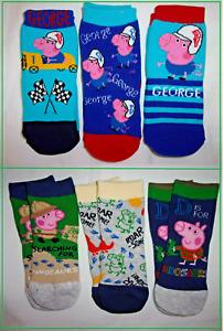 Baby Boys George Pig 3 Pack Pairs Socks Peppa UK Size 3-5.5 1-2 years 12 24 mths