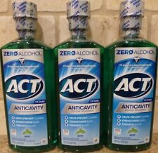(3) ACT Alcohol Free Anti Cavity Fluoride Rinse, Mint - 18 oz Each