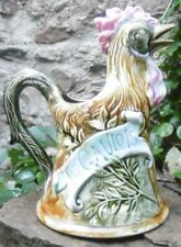 Célèbrissime Barbotine French Gaulois Rooster Majolica Pitcher made in ONNAING
