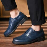 Mens Smart Formal Casual Lace Up Faux Brogues Shoes