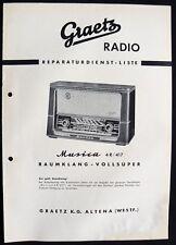 Historische Radio-Anleitung~Graetz Musica 4R/417~1956/57 Original Selten Manual