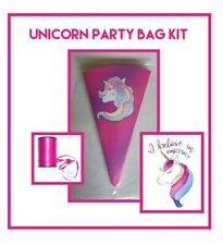 10 unicorn personslised DIY/party bags/sweet cones/supplies/kit birthday