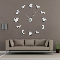 Wall Art Clock With Mirror Effect Dog Patterned Large Watches DIY 3D Home Decors