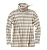 J Crew - Women's XL - NWT - Taupe/Ivory Striped Turtleneck Sweater Tee
