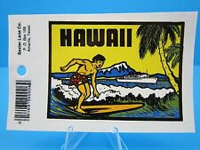 "VINTAGE....""HAWAII ISLAND SURFING""  STICKER / DECAL   (WOW... GREAT PRICE !)"