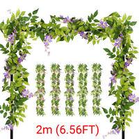 2m 6.56FT Artificial Flowers Silk Wisteria Garland Vine Wedding Arch Floral