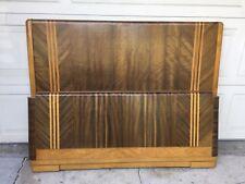Vintage Inlaid Art Deco Headboard Footboard. 5 Different Woods Used. No Rails.
