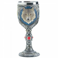 Goblet's 2 Medieval Wolf Wine Timber Wolf Glass's Goth NEW