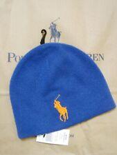 Polo Ralph Lauren Big Pony Merino Wool Knit Beanie Cap Hat Blue Men's