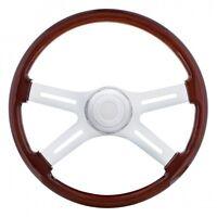"""18"""" 4 Spoke Wood Steering Wheel Fits Peterbilt 1998-On and Kenworth 2001-On"""
