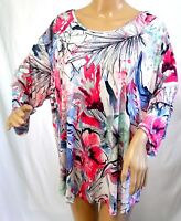 Southern Lady Women Plus Size 1x 2x 3x Floral Pink White Tunic Top Blouse Shirt