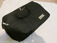"Black Canvas Laptop Messenger ""Dolphin"" Briefcase Handbag - Lots of Compartments"