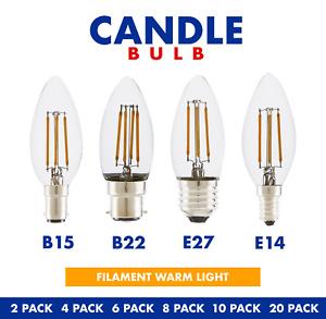 LED Candle Filament E14 E27 B22 Edison Bulb Vintage Decorative Light Warm Lamp
