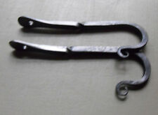 "Colonial Blacksmith hand wrought iron 5"" square hook w/ twist set of 2."