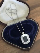 """Lovely 16"""" Marked Sterling Silver Onyx & Mother Of Pearl Necklace 9.24gr"""