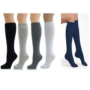 3 Pares Niñas Niños Llano de la rodilla alta calcetines largos de vuelta a clases medias de algodón rico