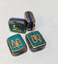 Tibetan Lapis Turquoise Om Symbol Square Bead Ornate Brass Etched