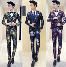 Men's Mod Floral Jacquard Slim Party Prom Dinner Jacket Waistcoat Pants Suit Set
