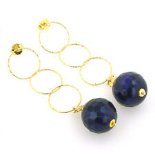 Black and Purple Agate Earrings set in Gold Plated Sterling Silver