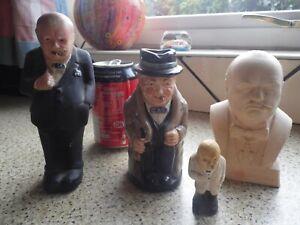 Job lot of Winston Churchill figures Doulton ,Chalkware,WW2