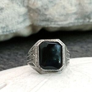 Old Ostby Barton OB Sterling Silver Art Deco Black Onyx Signet Mens Size 11 Ring