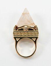 VERSACE Gold plated w/ Pyrmaid Quartz Rutilate Medusa Ring size 13 / 6 3/4  $450