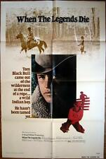 1972 WHEN THE LEGENDS DIE~ WILD INDIAN BOY AT END OF ROPE ~MOVIE POSTER 1 SH OR
