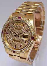 Rolex Day-Date President 18k Yellow Gold Diamond/Ruby Watch +Box 18238
