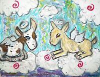 NIGERIAN DWARF Angel Dairy Goat Folk Art Print 8x10 Farm Countryside Collectible
