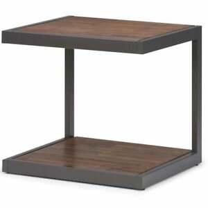 Table Coffee Storage Living Room Furniture Shelf Modern Metal Bottom Compartment