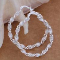925 Silver Hoop Earrings Large Twist Design Textured Gift Bag 45mm