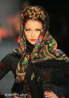 Luxury Large Russian Pavlovo Posad Shawl 125cm/49'',PURE NATURAL WOOL scarf wrap