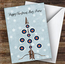 Archery Bow Arrow Target Tree Hobbies Personalised Christmas Card