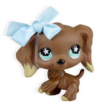 #960 Littlest Pet Shop Chocolate Brown Cocker Spaniel Dog LPS Blue Bowknot
