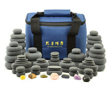 MassageMaster HOT STONE MASSAGE SET: 70 Basalt/Chakra Stones (with Carrying Bag)