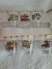 Pretty Vintage French Shot  Glasses Gilt Decorated Old People Carriers x6