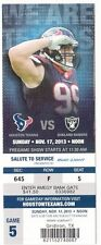 2013 HOUSTON TEXANS VS OAKLAND RAIDERS TICKET STUB 11/17/14 J.J. WATT