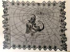 Halloween Black Cobweb Spider Web & Skulls Table Runner Lace Table Cloth Cape