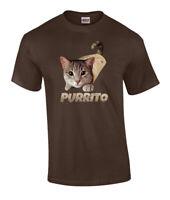 Funny Purrito Cat In Burrito Graphic Adult Short Sleeve T Shirt
