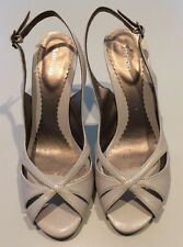 Open Toe Tan Taupe Sandals Size 38 7 1/2 Sling Back Strap-worn Once. 3 1/2 Heel